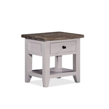 An Image of Galleon Wooden End Table In Cotton White