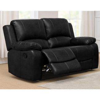 An Image of Andalusia Recliner LeatherGel And PU 2 Seater Sofa In Black