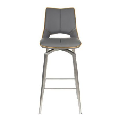 An Image of Loft Bar Chair In Graphite Grey And Brushed Stainless Steel Legs