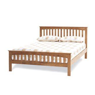 An Image of Amelia Hevea Wooden Double Bed In Honey Oak
