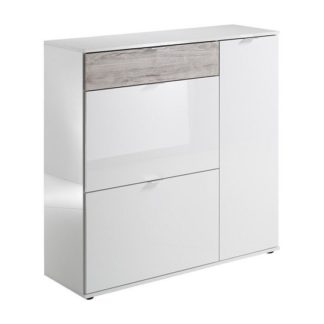 An Image of Portino Wide Shoe Cabinet In White High Gloss And Sand Oak