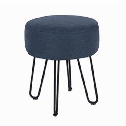 An Image of Arturo Fabric Round Blue Stool With Metal Legs
