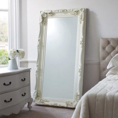 An Image of Luxembourg Floor Mirror Rectangular In Matt Cream