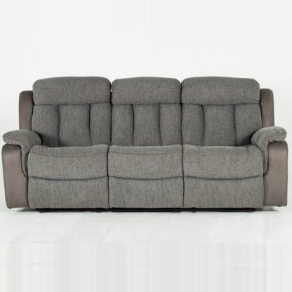 An Image of Karr Three Seater Recliner Fabric Sofa In Grey