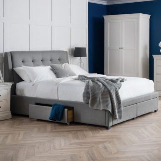 An Image of Fullerton Linen Double Bed In Grey With 4 Storage Drawers