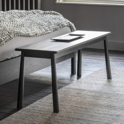 An Image of Wycombe Solid Oak Dining Bench In Black