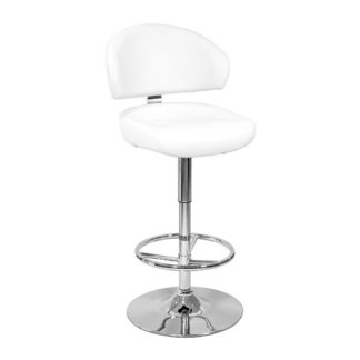 An Image of Casino White Leather Bar Stool With Chrome Base