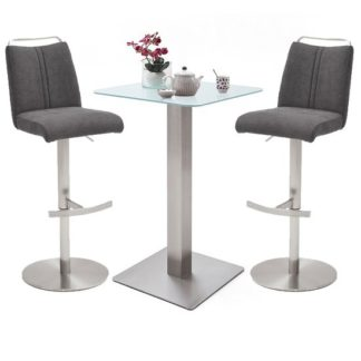 An Image of Soho White Glass Bar Table With 2 Giulia Fabric Anthracite Stool