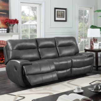 An Image of Orionis LeatherGel And PU Recliner 3 Seater Sofa In Grey