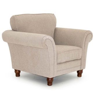 An Image of Colette Fabric Sofa Chair In Pewter With Wooden Legs