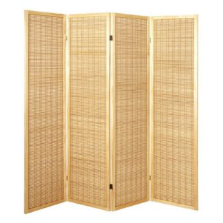 An Image of Bamboo 4 Panel Folding Room Divider In Natural