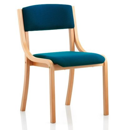 An Image of Charles Office Chair In Kingfisher And Wooden Frame