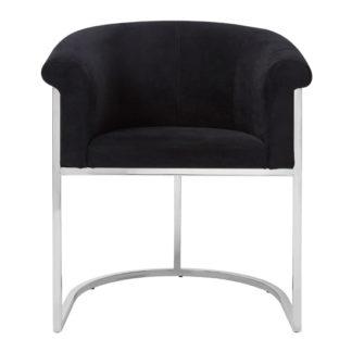 An Image of Sceptrum Velvet Dining Chair In Black