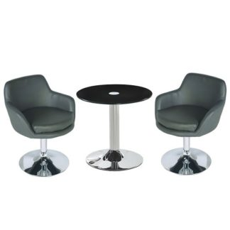An Image of Belize Glass Bistro Table In Black With 2 Bucketeer Grey Chairs