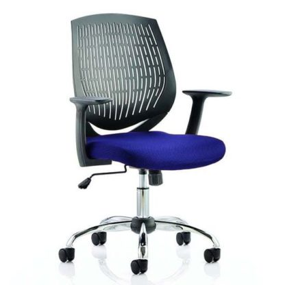 An Image of Dura Black Back Office Chair With Stevia Blue Seat