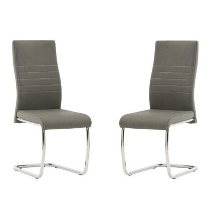 An Image of Devan Cantilever Dining Chair In Grey Faux Leather In A Pair
