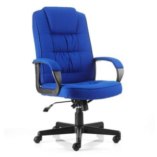 An Image of Moore Fabric Executive Office Chair In Blue With Arms