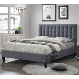 An Image of Becky Fabric Double Bed In Grey