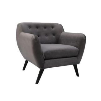 An Image of Flora Arm Chair In Brushed Velvet Grey Fabric With Wooden Legs