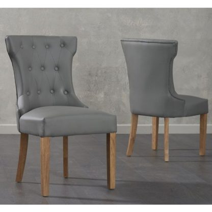 An Image of Absolutno Grey Faux Leather Dining Chairs In Pair