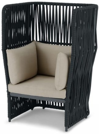 An Image of Dalat Garden Armchair, Dark Grey
