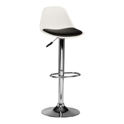 An Image of Xian Bar Stool In White With Black PU Seat And Chrome Base