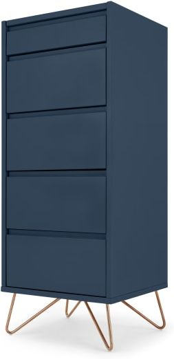 An Image of Elona Vanity Chest of Drawers, Dark Blue and Copper