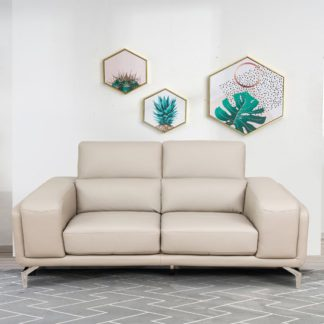 An Image of Linea Faux Leather Fixed 2 Seater Sofa In Putty