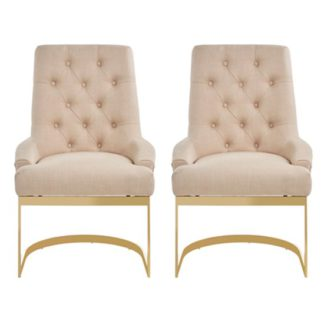 An Image of Azaltro Natural Linen Fabric Dining Chairs In Pair