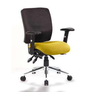 An Image of Chiro Medium Back Office Chair With Senna Yellow Seat