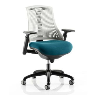 An Image of Flex Task White Back Office Chair With Maringa Teal Seat