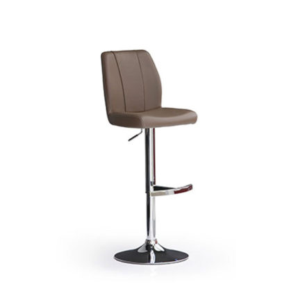 An Image of Naomi Cappuccino Faux Leather Bar Stool With Round Chrome Base