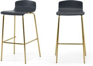 An Image of Syrus Set of 2 Barstools, Grey & Brass