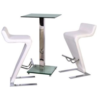 An Image of Spice Bar Table In Clear Glass With 2 Farello Bar Stool In White