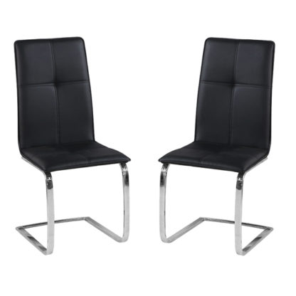 An Image of Opus Black Finish Dining Chair In Pair