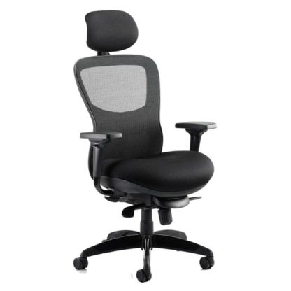 An Image of Stealth Shadow Ergo Headrest Office Chair In Black Airmesh Seat