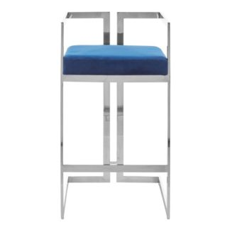 An Image of Azaltro Velvet Bar Stool In Blue With Silver Metalframe