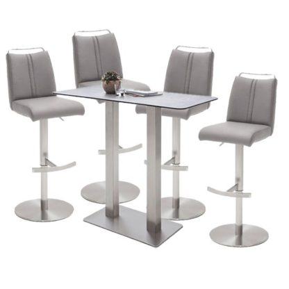 An Image of Soho Glass Bar Table With 4 Giulia Ice Grey Stools
