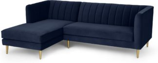 An Image of Amicie Left Hand Facing Chaise End Corner Sofa, Royal Blue Velvet