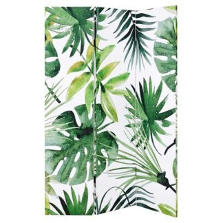 An Image of Tiffany Canvas Room Divider Double Sided In Palm Leaves