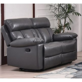 An Image of Ohio Recliner Bonded Faux Leather 2 Seater Sofa In Grey