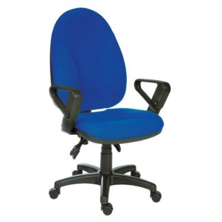 An Image of Tailings Operator Office Chair In Blue With Black Base And Wheel