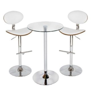 An Image of Bente Bar Table In Clear Glass With 2 Shanon White Stools
