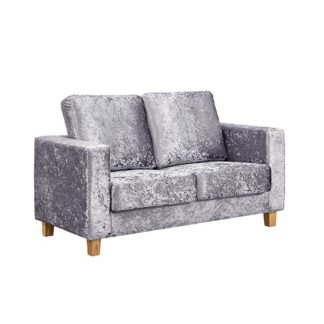 An Image of Wasp Crushed Velvet 2 Seater Sofa In Silver
