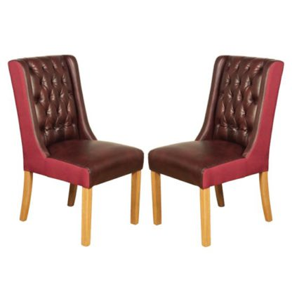 An Image of Olivia Burgundy And Plum Leather Dining Chair In Pair