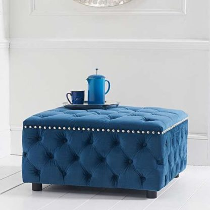 An Image of Aniara Velvet Square Footstool In Blue