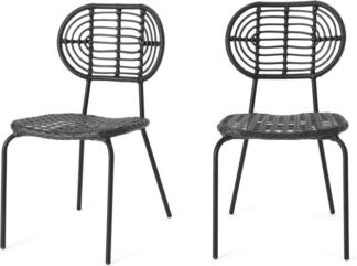 An Image of Swara Garden set of 2 Garden Dining Chairs, Black Polyrattan