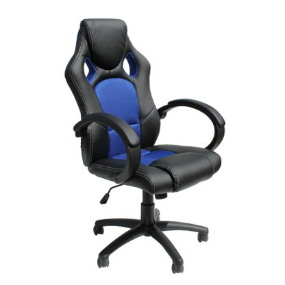 An Image of Tropez Home Office Chair In Blue Fabric And Black Faux Leather