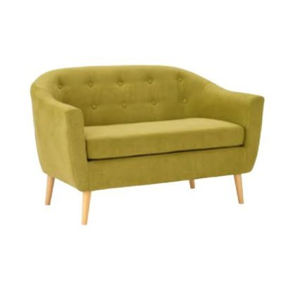 An Image of Morrill Woven Fabric Two Seater Sofa In Olive With Oak Legs