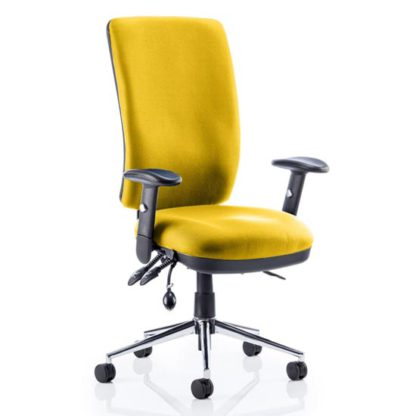 An Image of Chiro High Back Office Chair In Senna Yellow With Arms